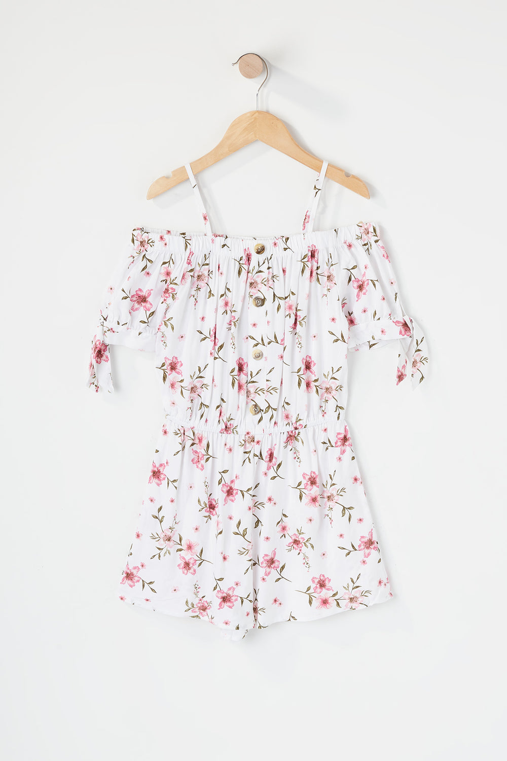 Girls Floral Off The Shoulder Romper White