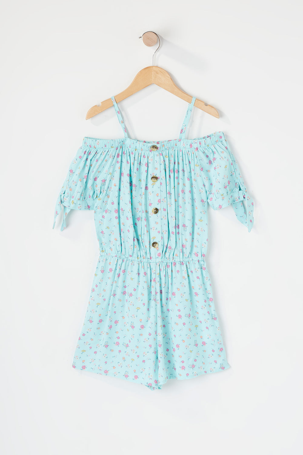 Girls Floral Off The Shoulder Romper Sage