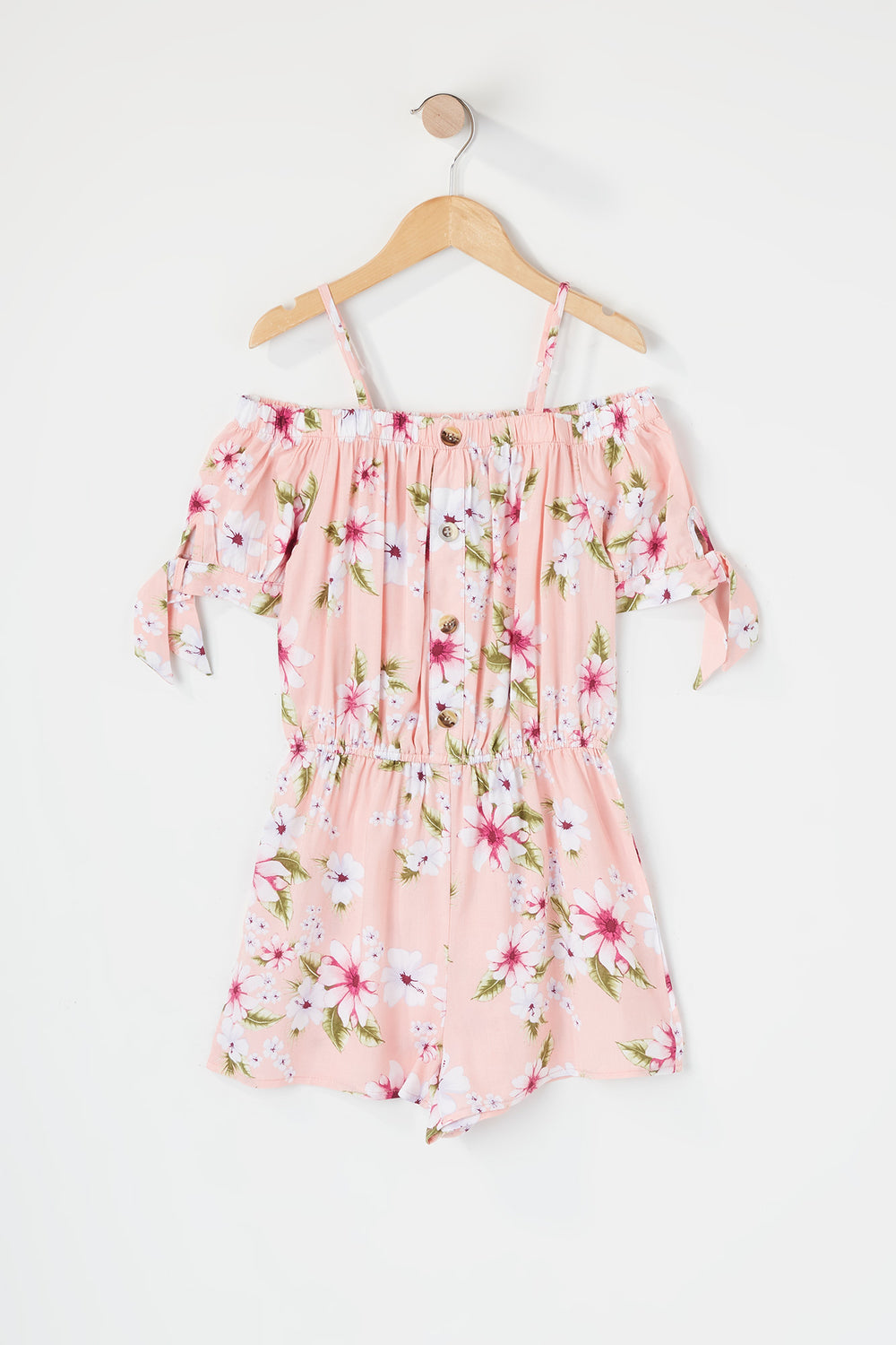 Girls Floral Off The Shoulder Romper Pink