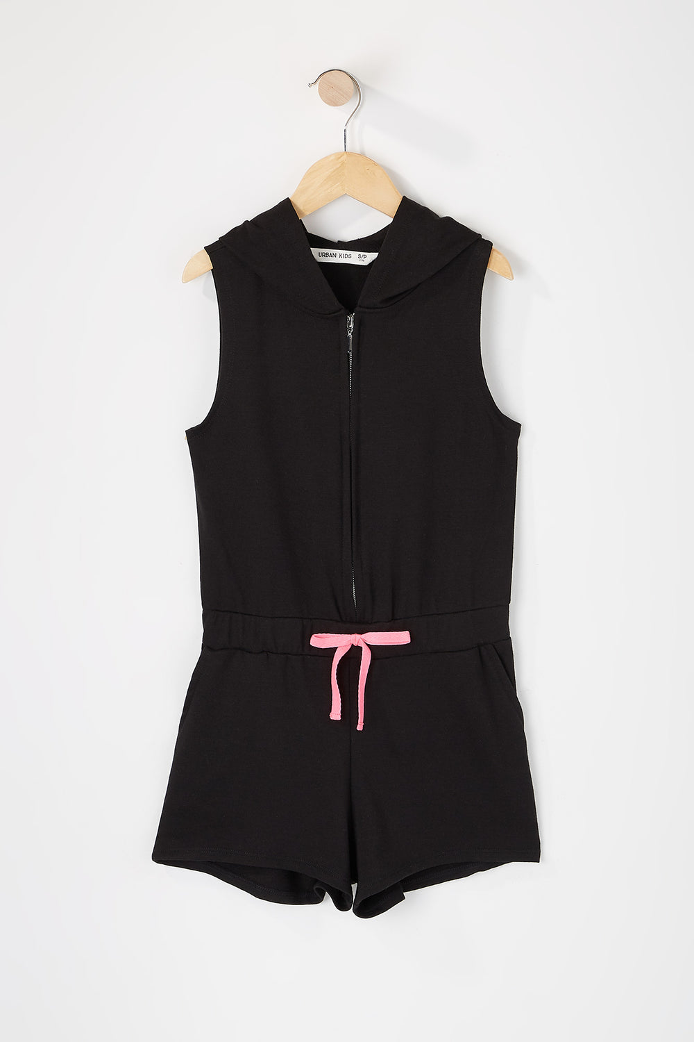 Girls Zip-Up Hooded Romper Black