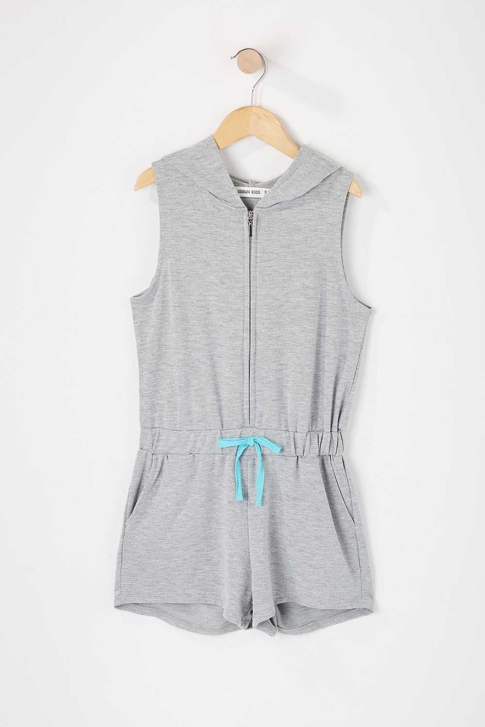Girls Zip-Up Hooded Romper Heather Grey