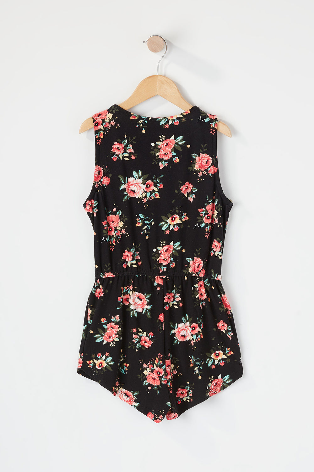 Girls Soft Printed Half Zip Romper Black
