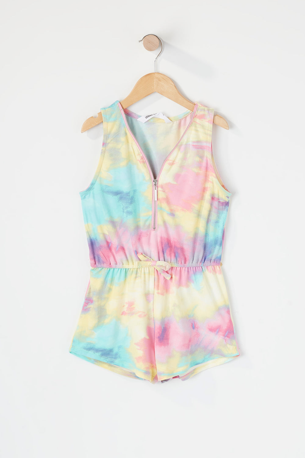 Girls Soft Printed Half Zip Romper Multi