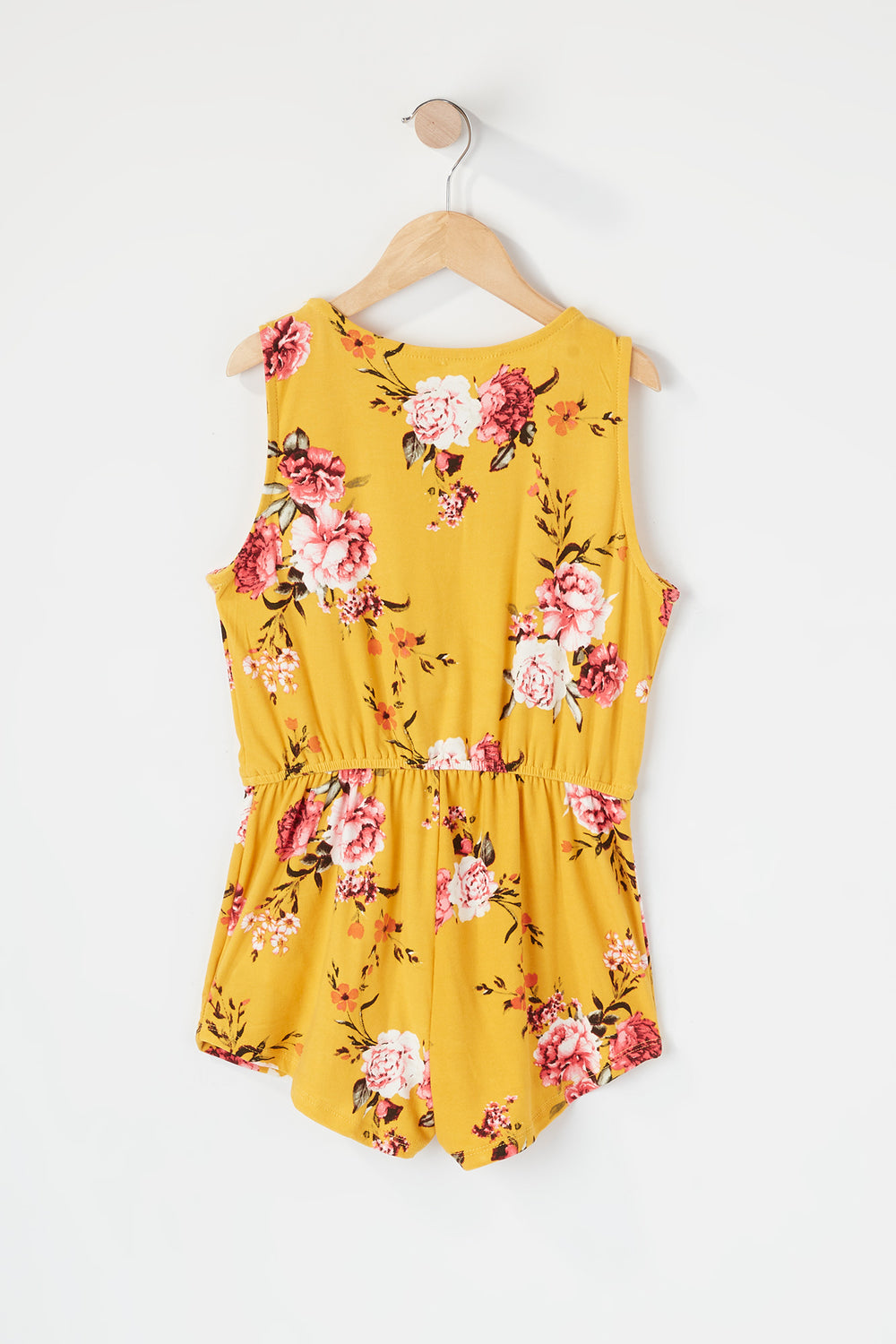 Girls Soft Printed Half Zip Romper Yellow