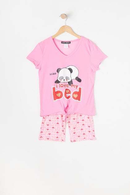 Girls 2-Piece I Love My Bed Graphic T-Shirt And Printed Biker Short Pajama Set