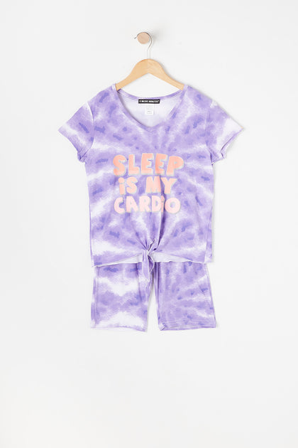 Girls 2-Piece Tie-Dye Sleep Is My Cardio T-Shirt And Tie-Dye Biker Short Pajama Set