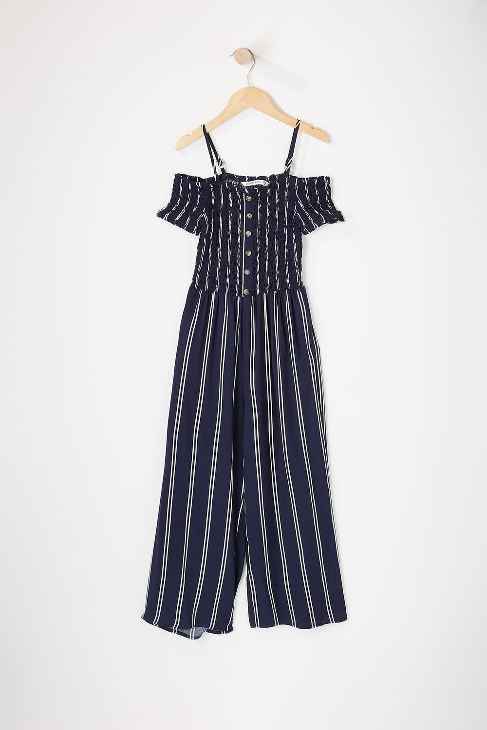 Girls Smocked Cold Shoulder Button Jumpsuit Navy