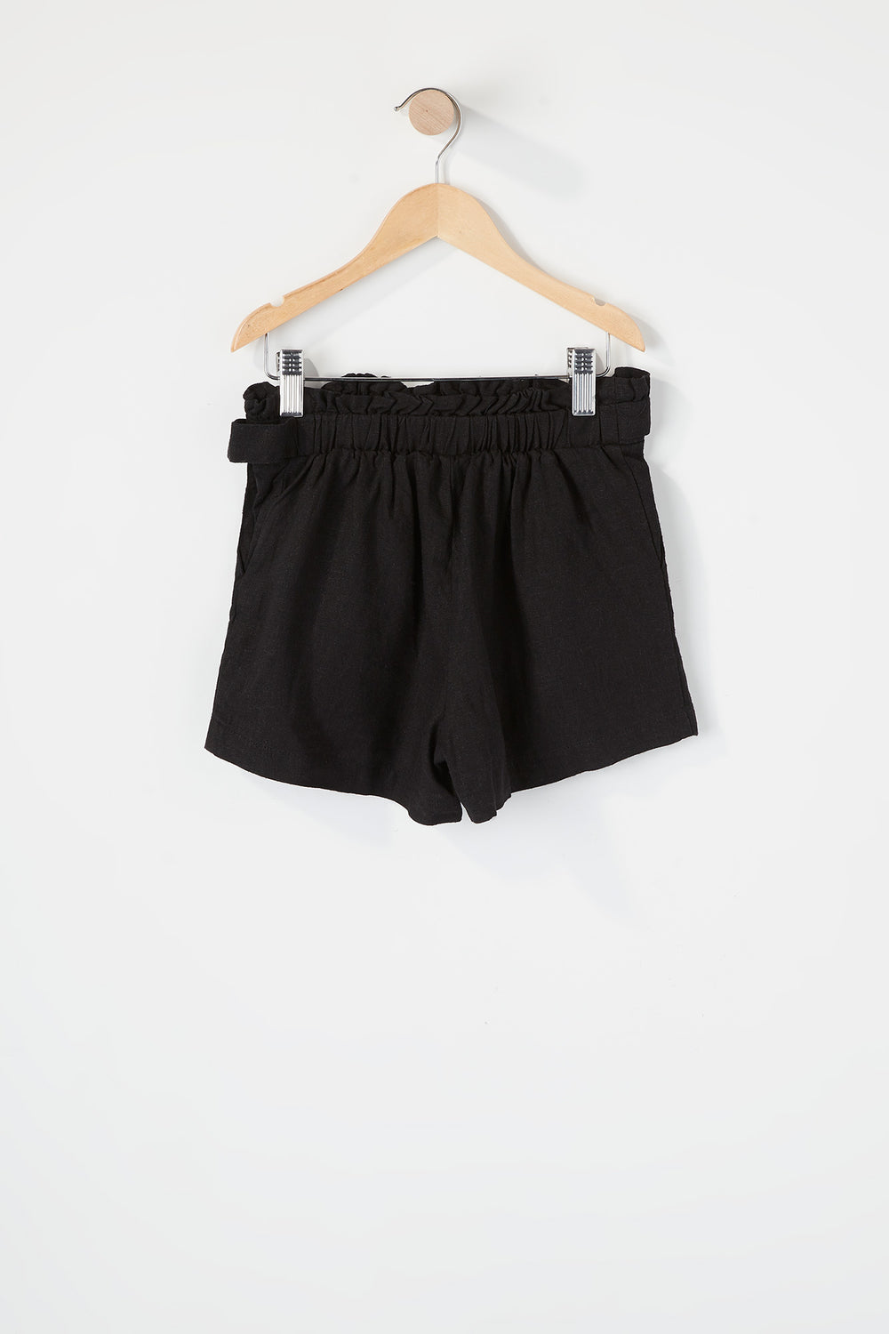 Girls D-Ring Belt Paperbag Short Black