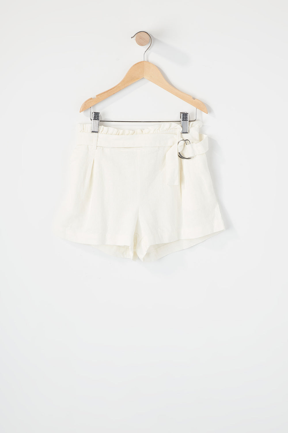Girls D-Ring Belt Paperbag Short White