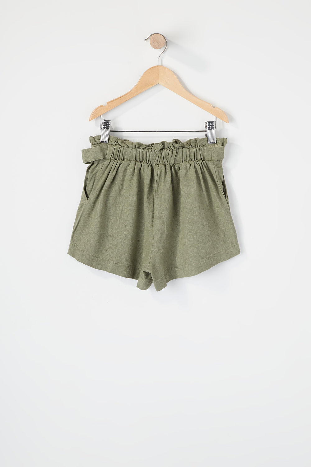 Girls D-Ring Belt Paperbag Short Dark Green
