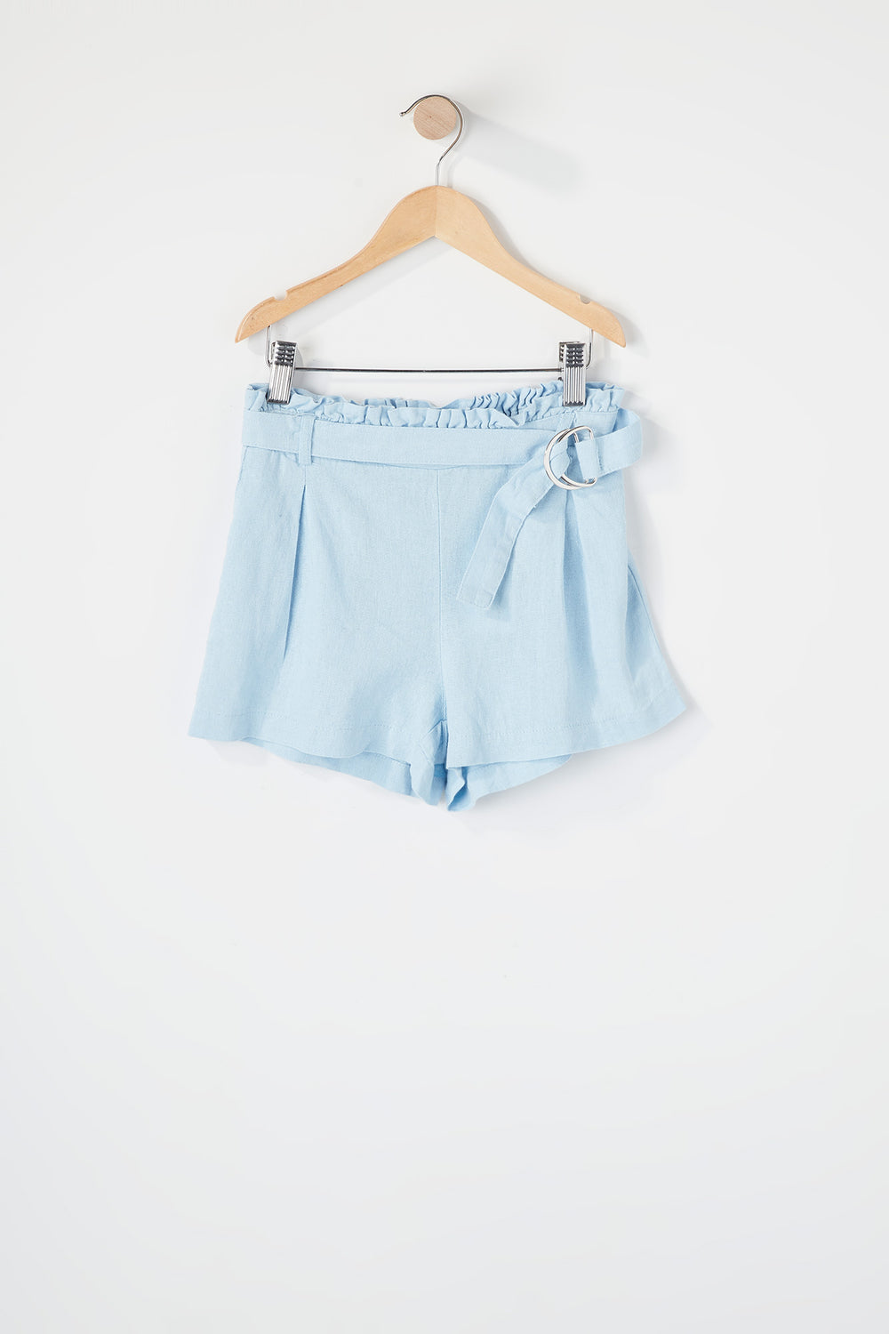 Girls D-Ring Belt Paperbag Short Baby Blue