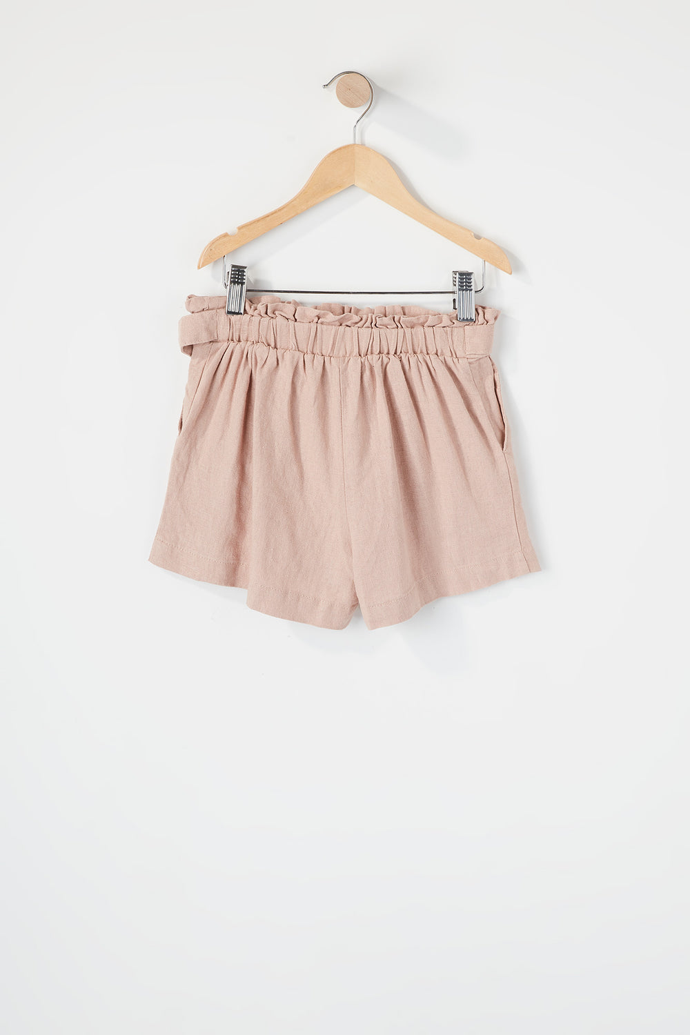 Girls D-Ring Belt Paperbag Short Dusty Rose