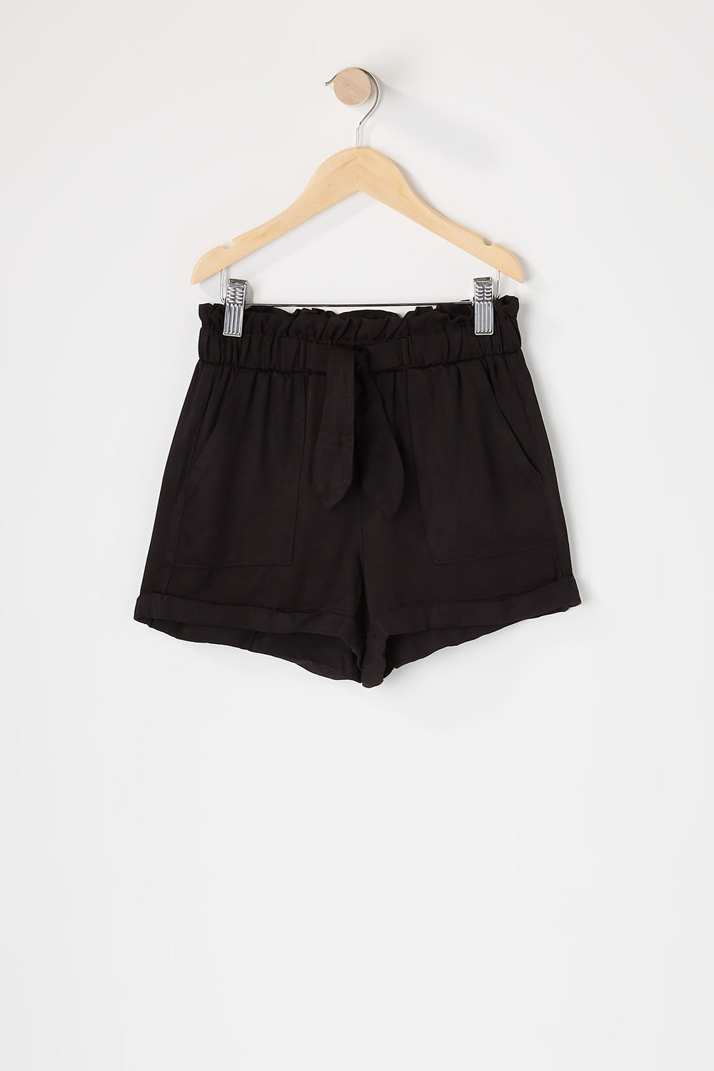 Girls Paperbag Cuffed Self Tie Short Black