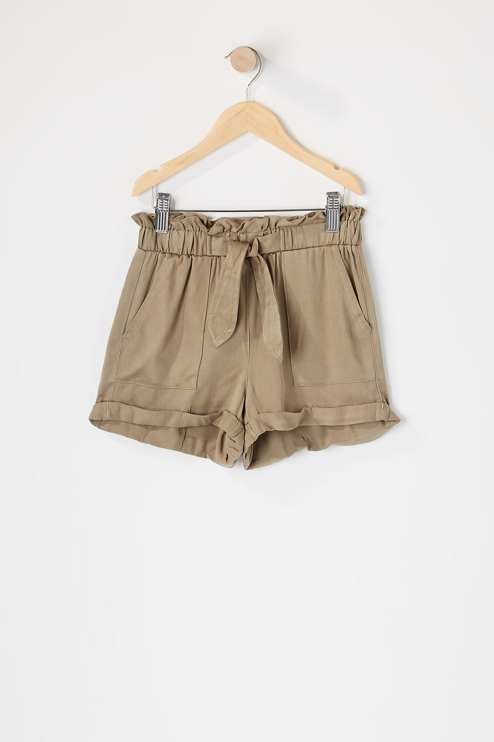 Girls Paperbag Cuffed Self Tie Short Dark Green