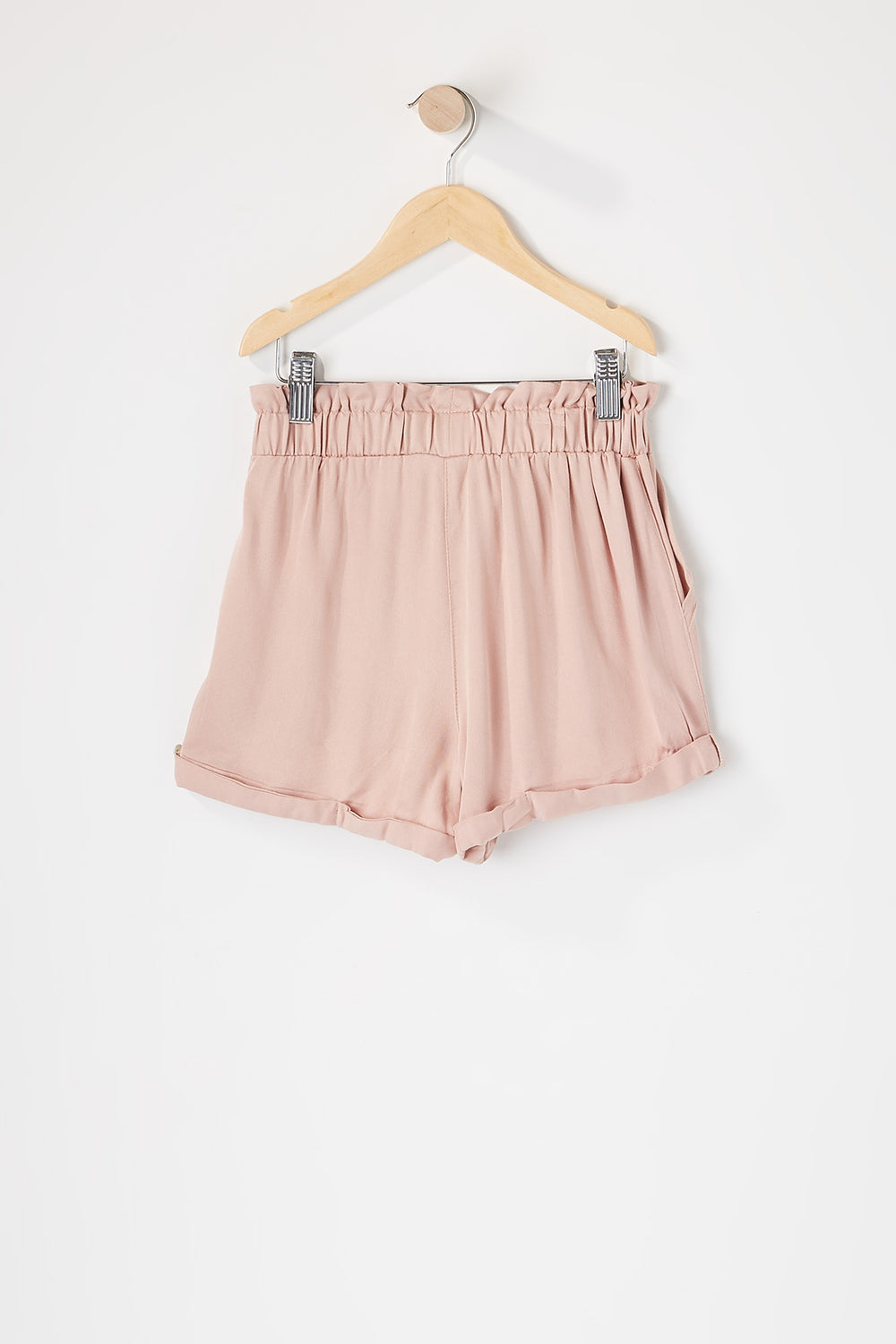 Girls Paperbag Cuffed Self Tie Short Pink