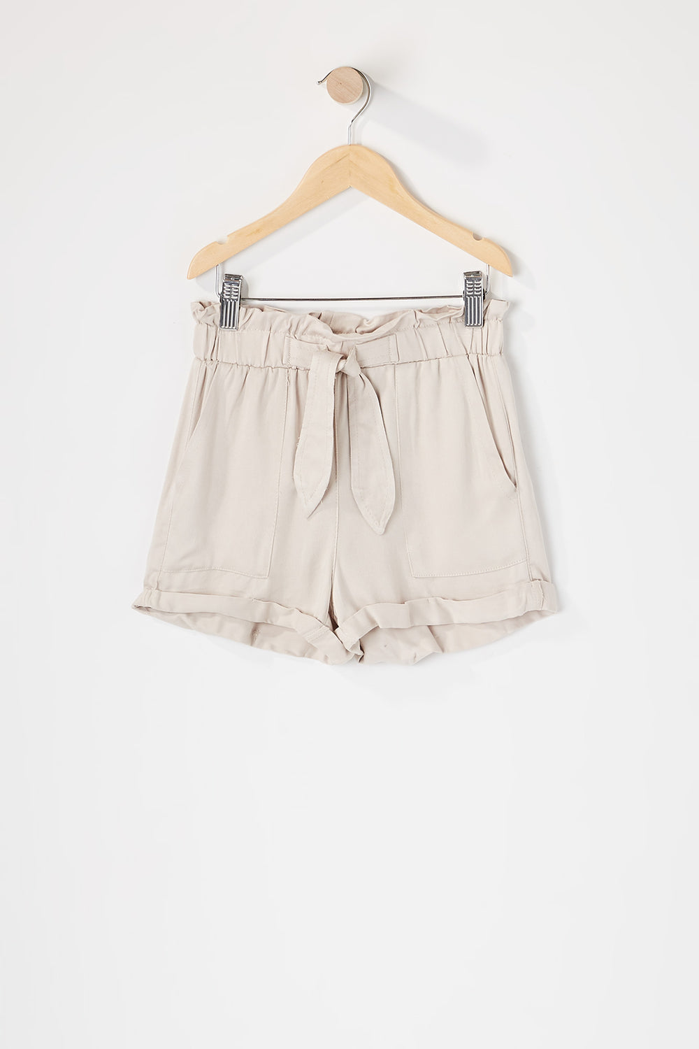 Girls Paperbag Cuffed Self Tie Short Taupe