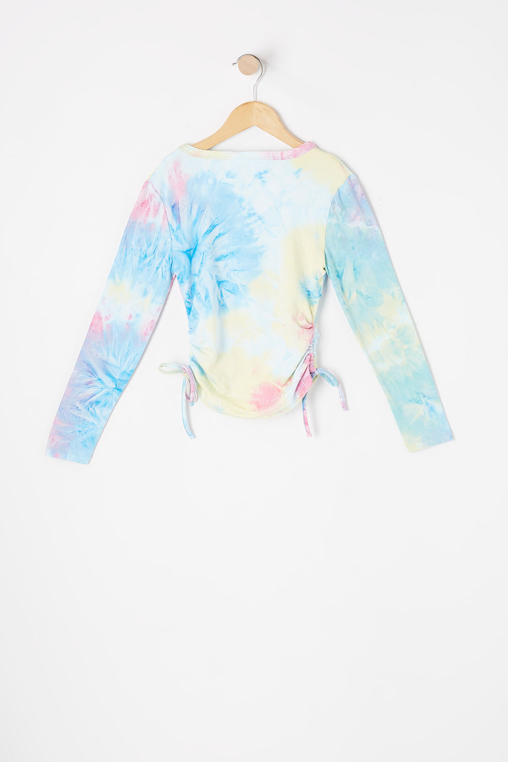 Girls Soft Tie Dye Angel Graphic Ruched Side Tie Long Sleeve Top Multi