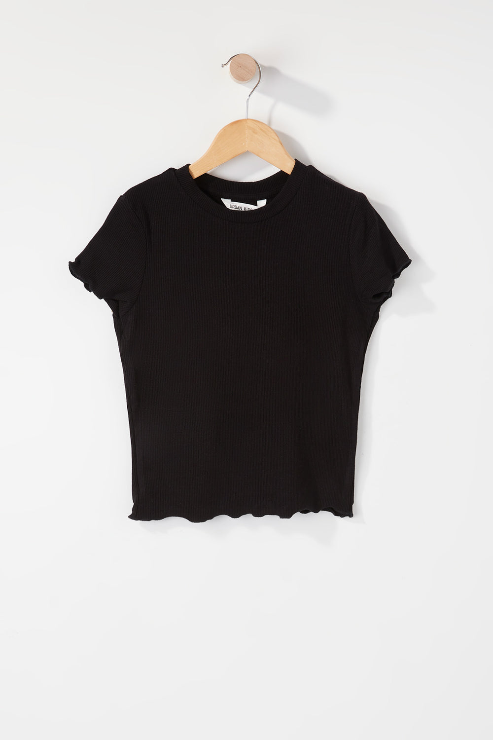 Girls Ribbed Frill Hem T-Shirt Black