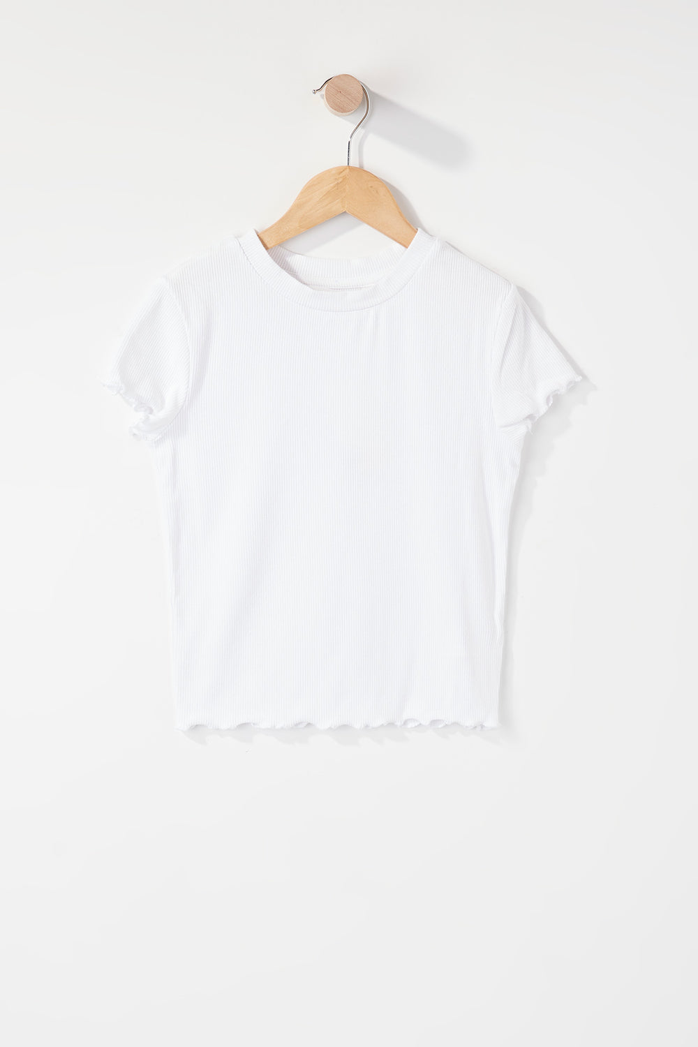 Girls Ribbed Frill Hem T-Shirt White