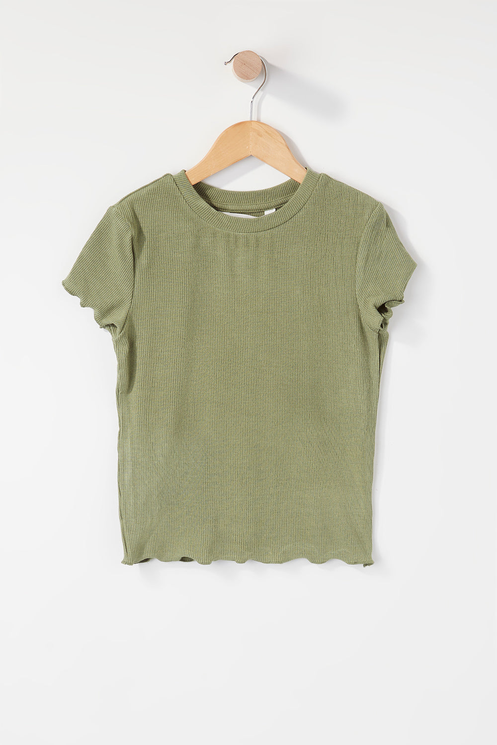 Girls Ribbed Frill Hem T-Shirt Hunter Green