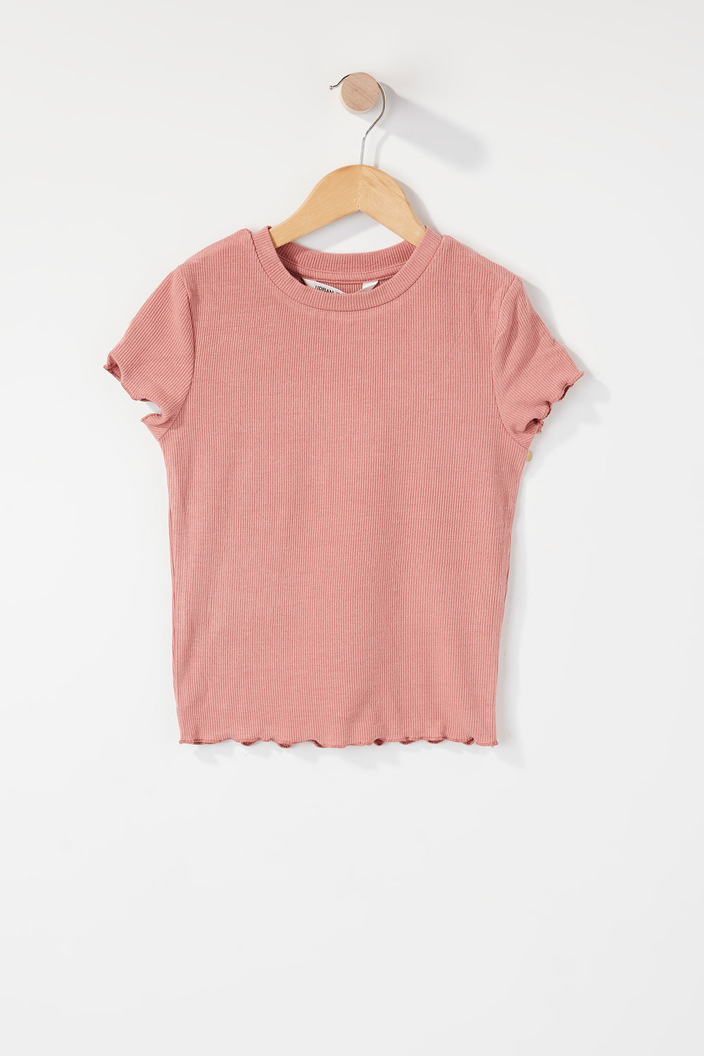 Girls Ribbed Frill Hem T-Shirt Mauve