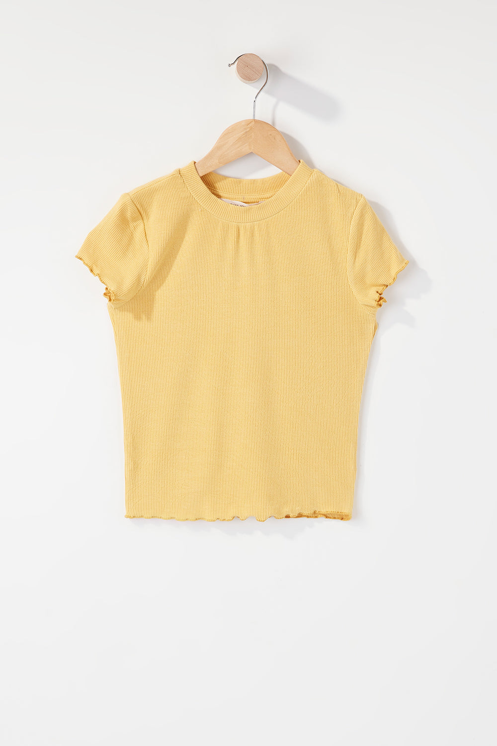 Girls Ribbed Frill Hem T-Shirt Gold