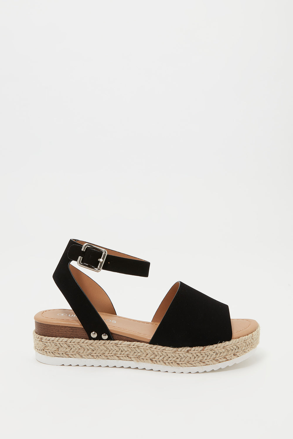 Girls Open Heel Espadrille Sandal Black