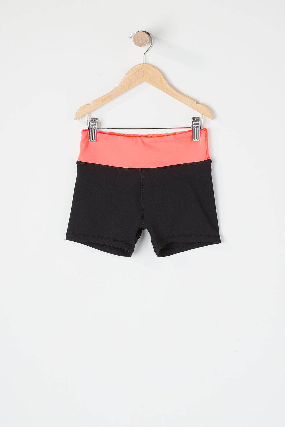Girls Colour Block Active Short Coral