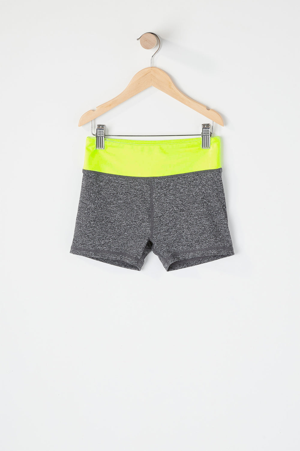 Girls Colour Block Active Short Black with White