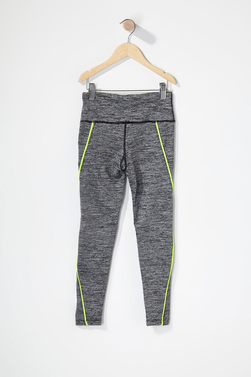 Girls Graphic Contrast Active Legging Heather Grey