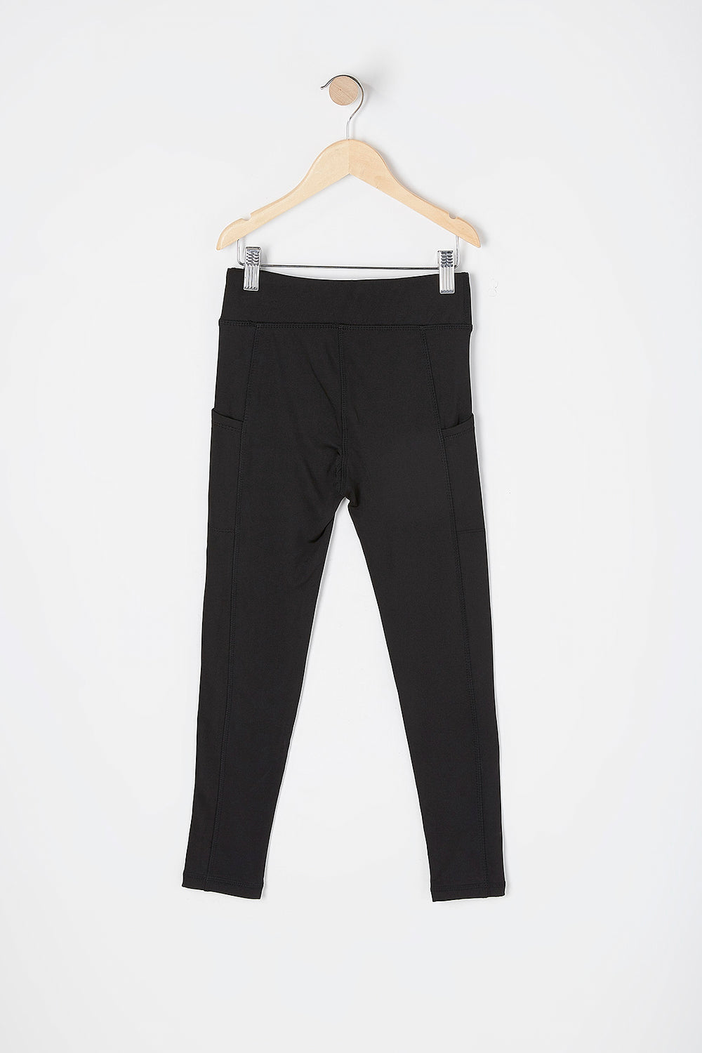 Girls Fleece Lined Pocket Active Legging Black