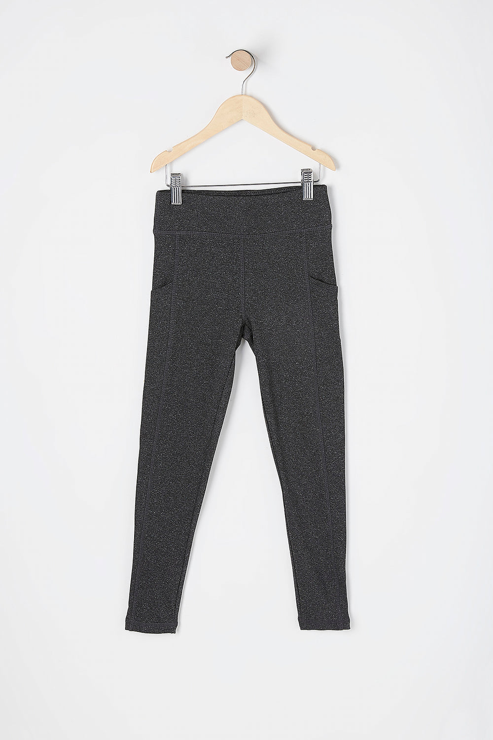 Girls Fleece Lined Pocket Active Legging Charcoal