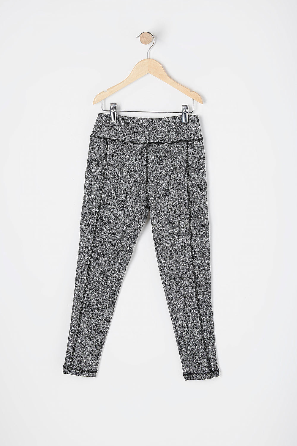Girls Fleece Lined Pocket Active Legging Heather Grey