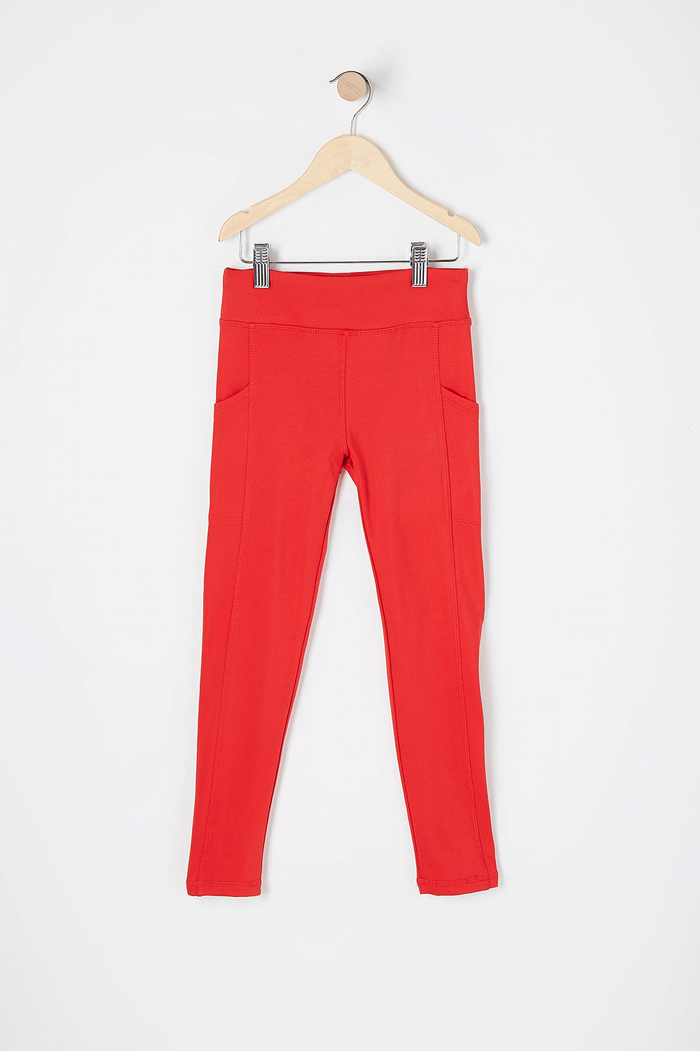 Girls Fleece Lined Pocket Active Legging Red