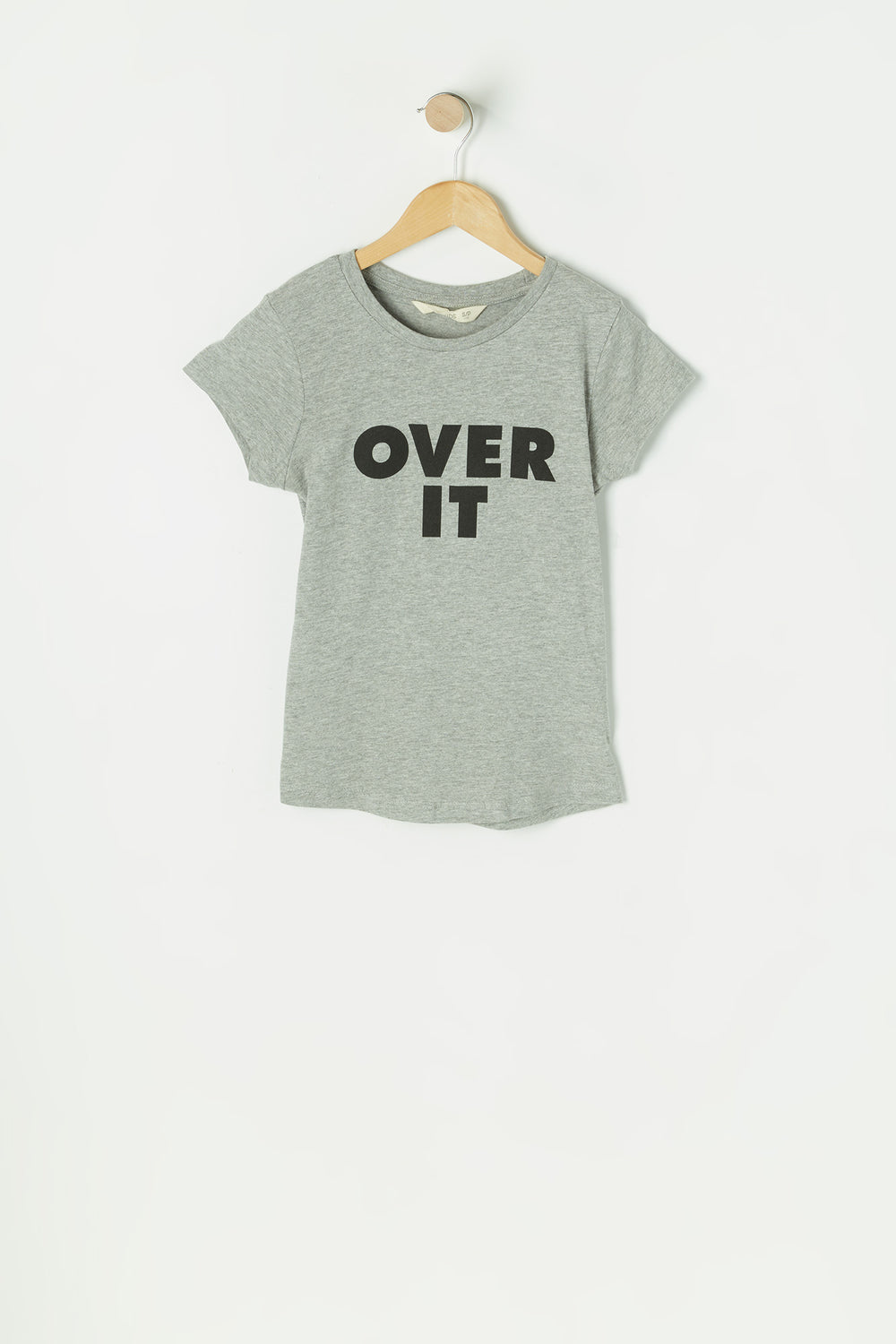 Girls Grey Over It Graphic T-Shirt Heather Grey