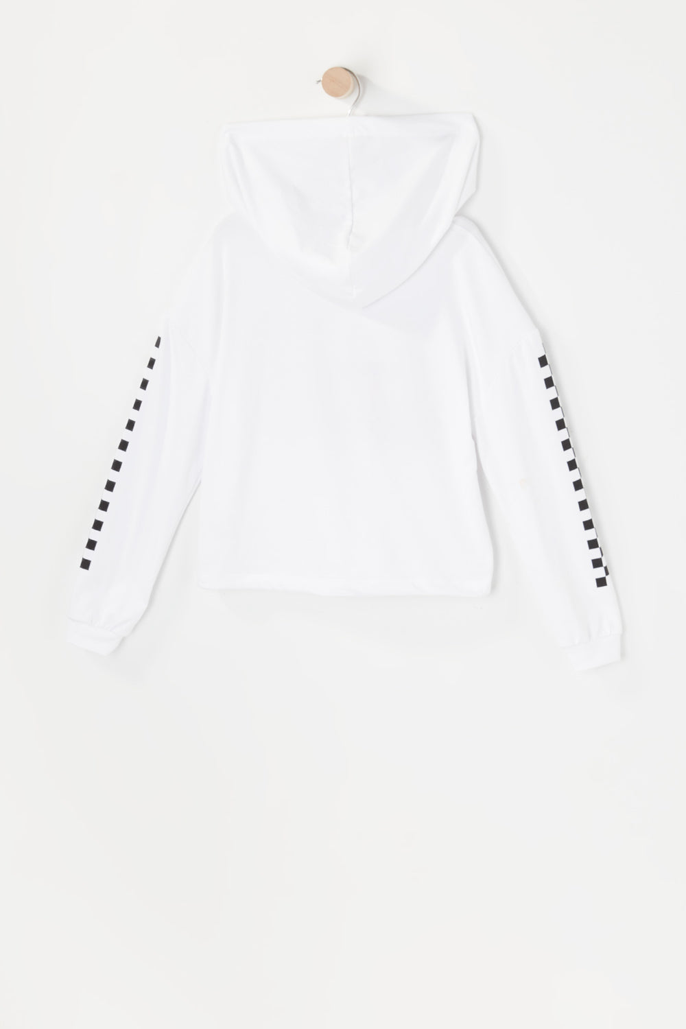 Girls Soft Graphic Cinched Hem Cropped Hoodie White