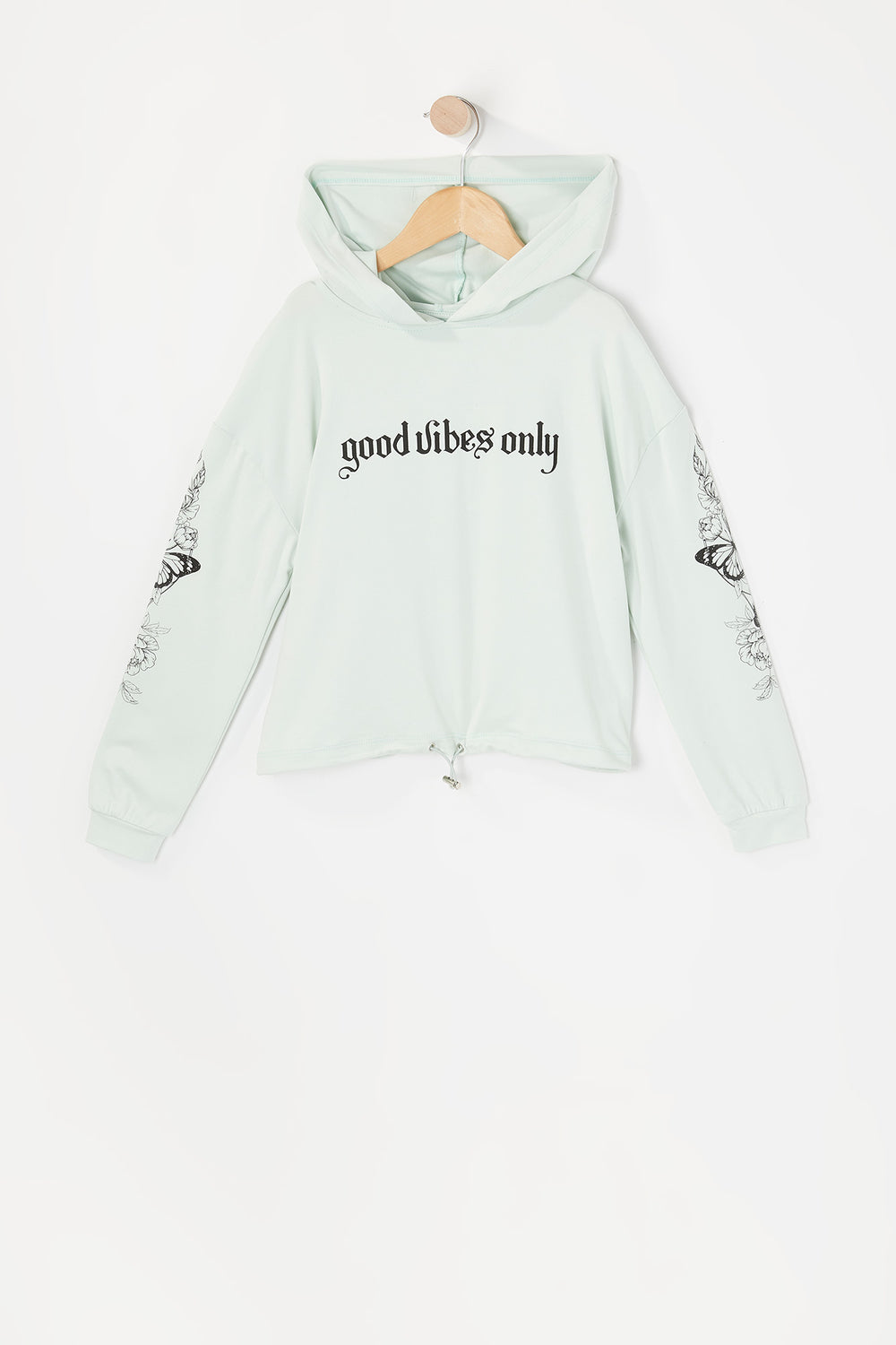 Girls Soft Graphic Cinched Hem Cropped Hoodie Light Blue