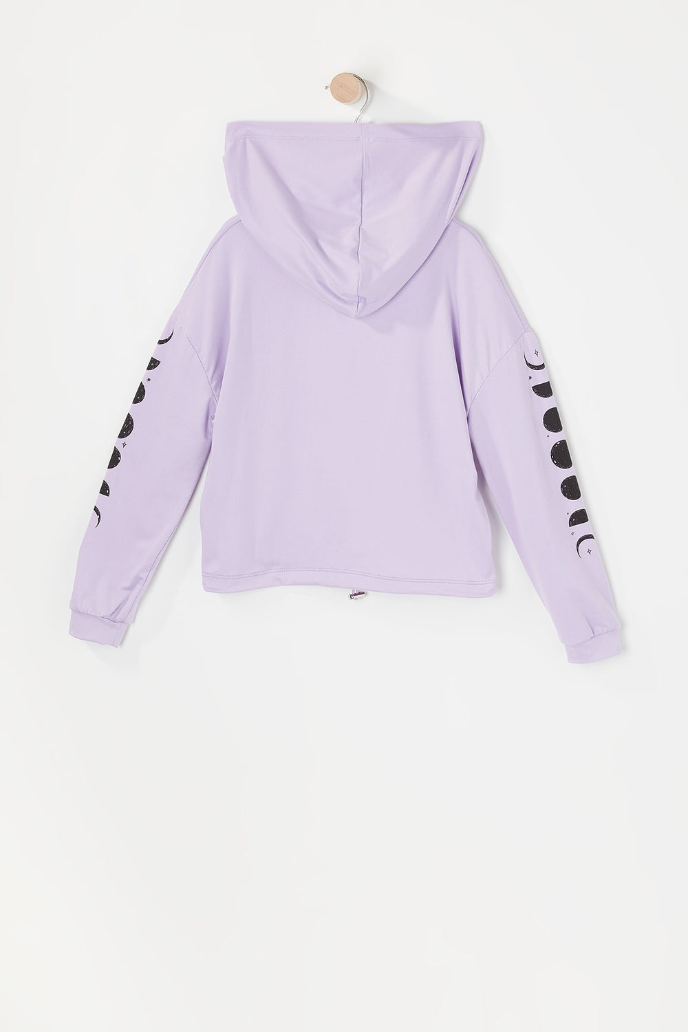 Girls Soft Graphic Cinched Hem Cropped Hoodie Lilac