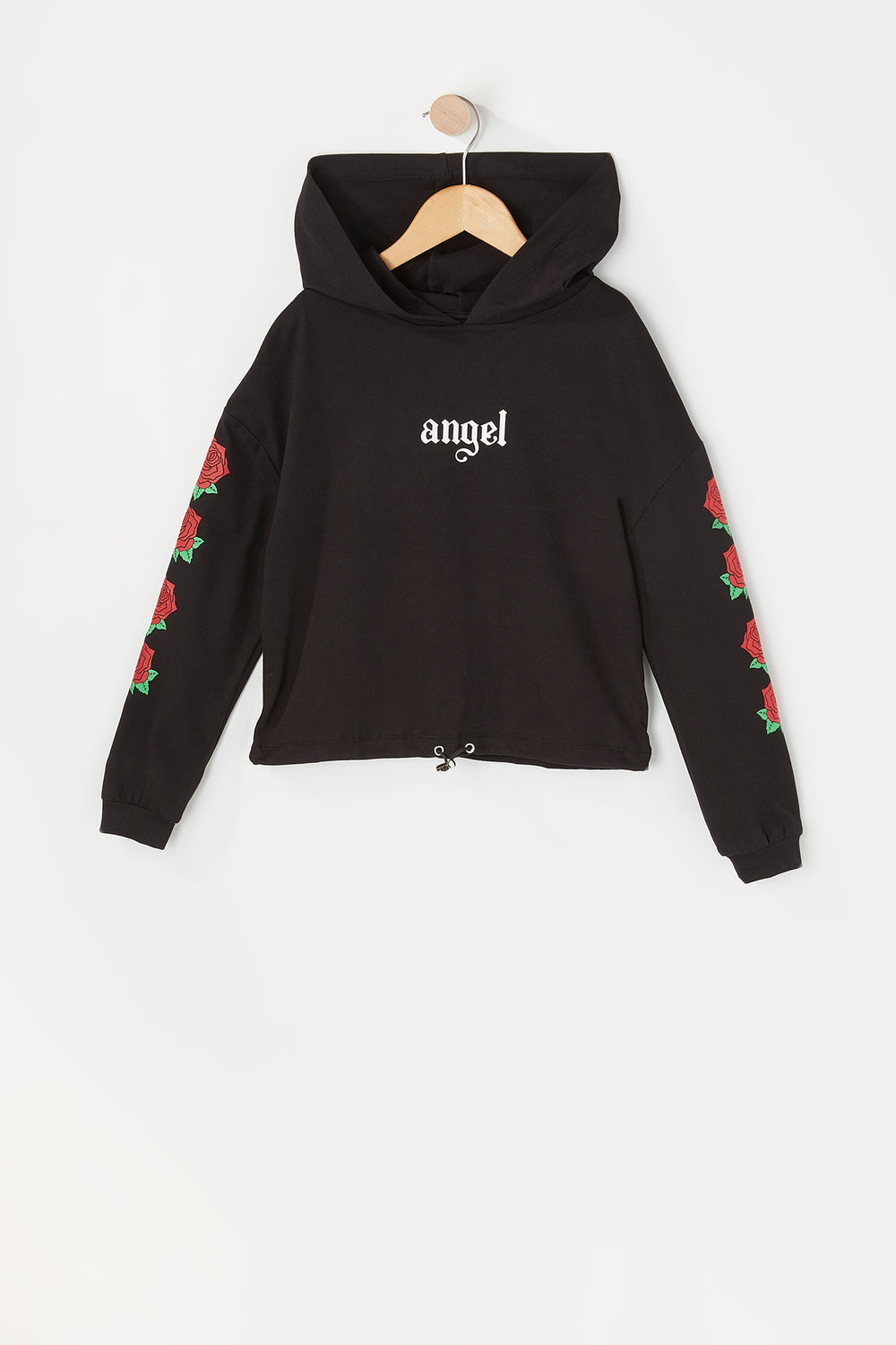 Girls Soft Graphic Cinched Hem Cropped Hoodie Black