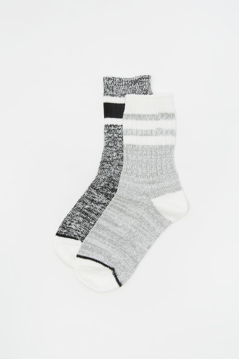 Youth Soft Double Striped Crew Socks (2 Pack) Black