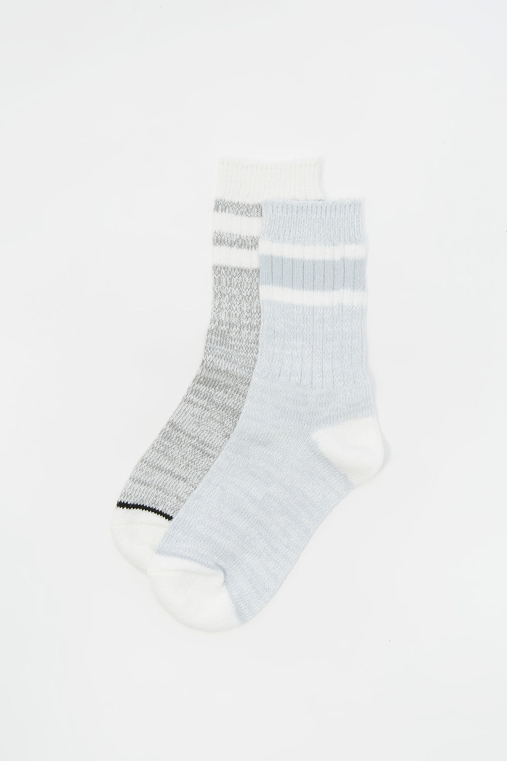 Youth Soft Double Striped Crew Socks (2 Pack) Light Blue