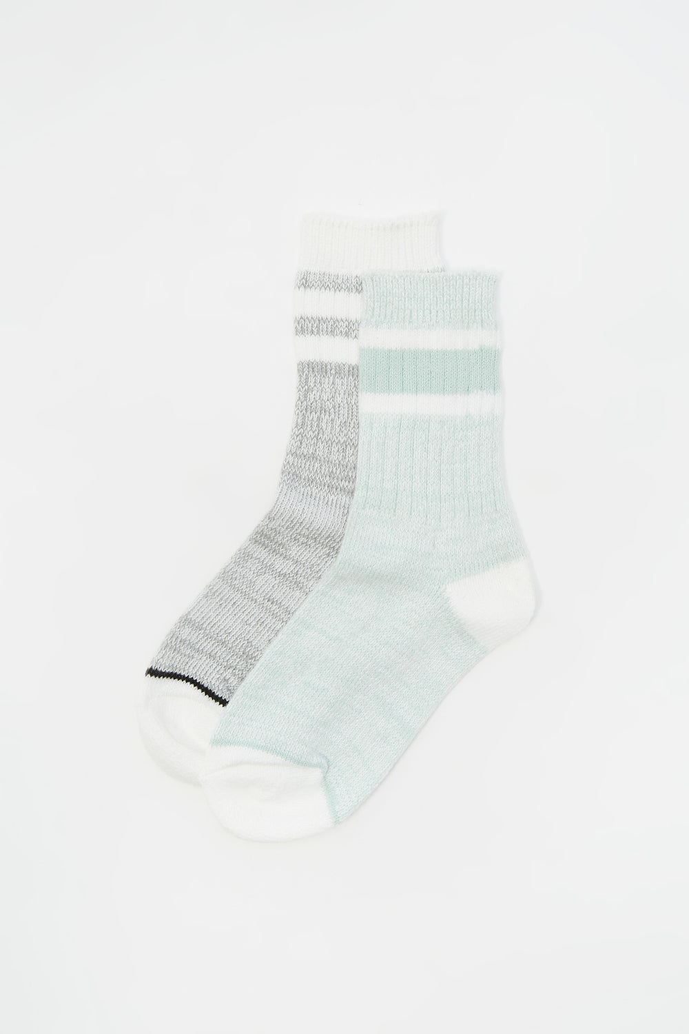 Youth Soft Double Striped Crew Socks (2 Pack) Sage