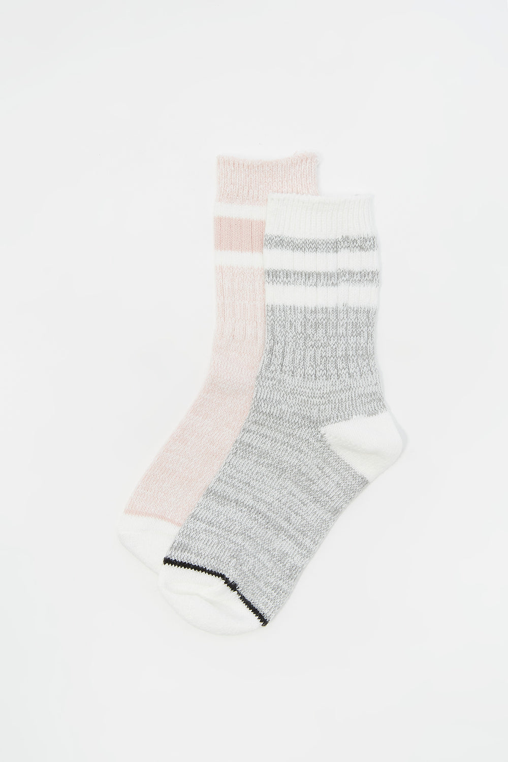 Youth Soft Double Striped Crew Socks (2 Pack) Dusty Rose