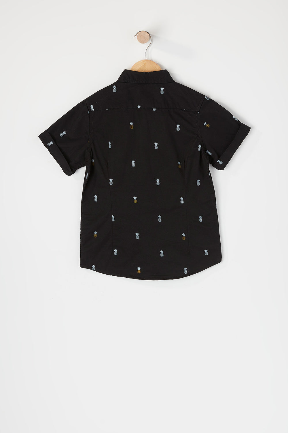 Boys Printed Button-Up Short Sleeve Shirt Black