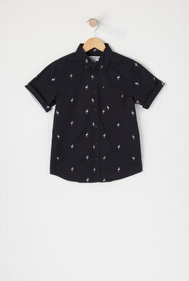 Boys Printed Button-Up Short Sleeve Shirt