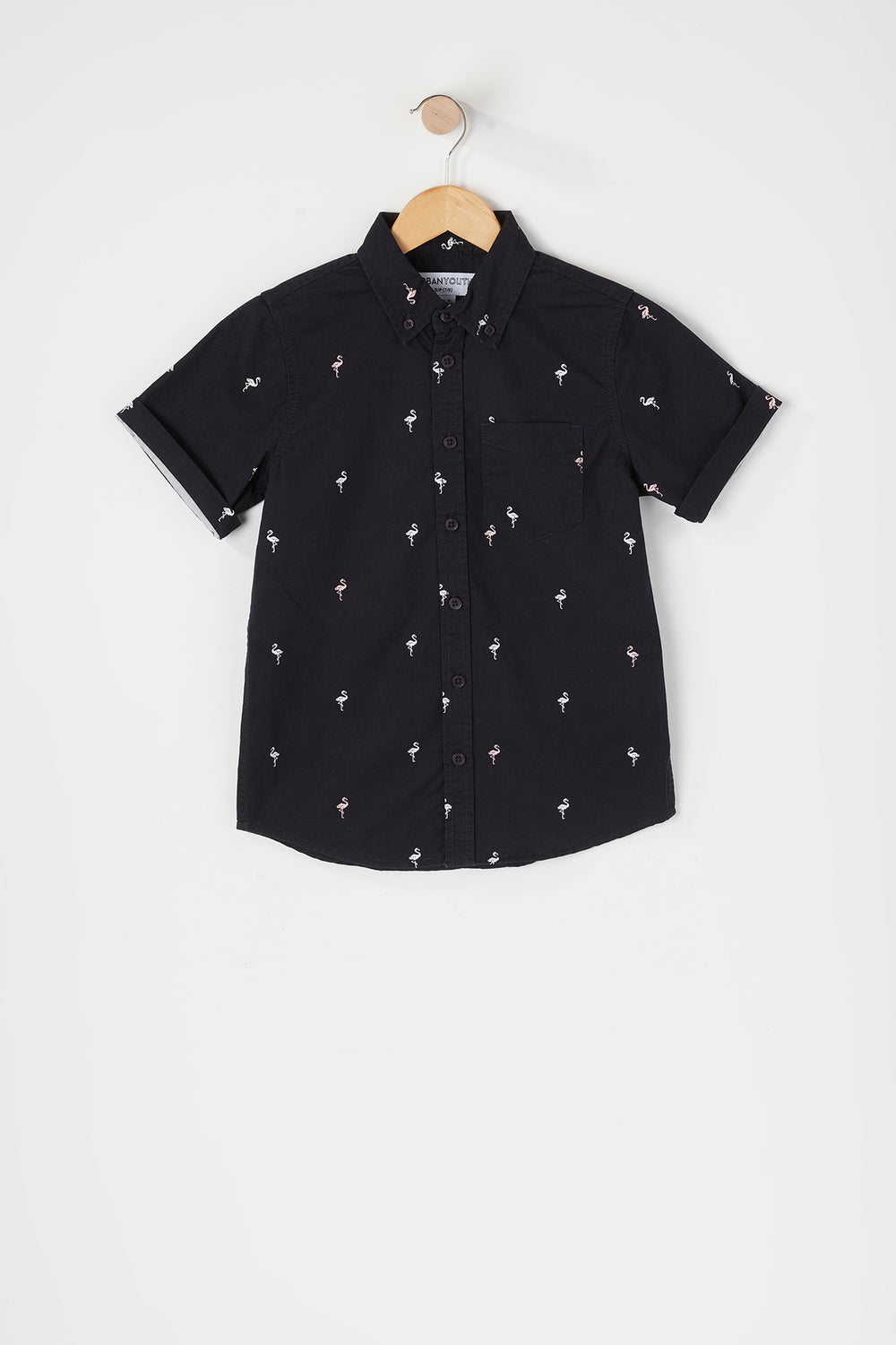 Boys Printed Button-Up Short Sleeve Shirt Navy