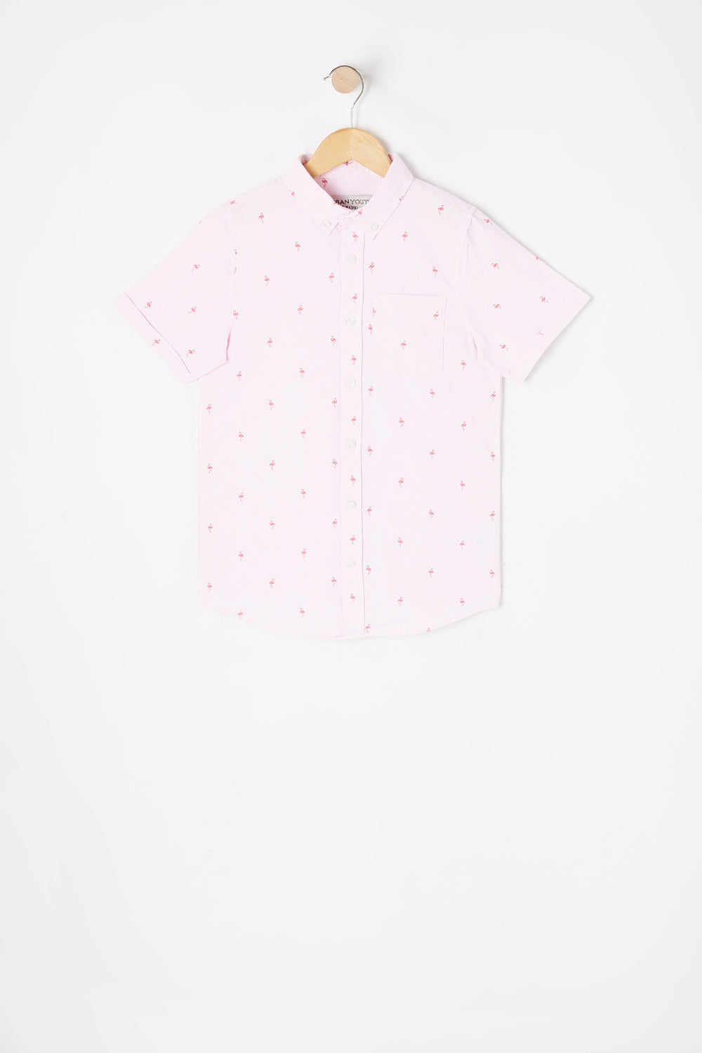 Boys Flamingo Ditsy Printed Button-Up Short Sleeve Oxford Top Pink