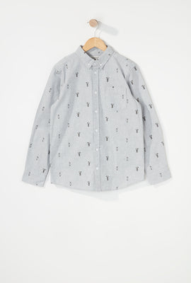 Boys Printed Button-Up Long Sleeve