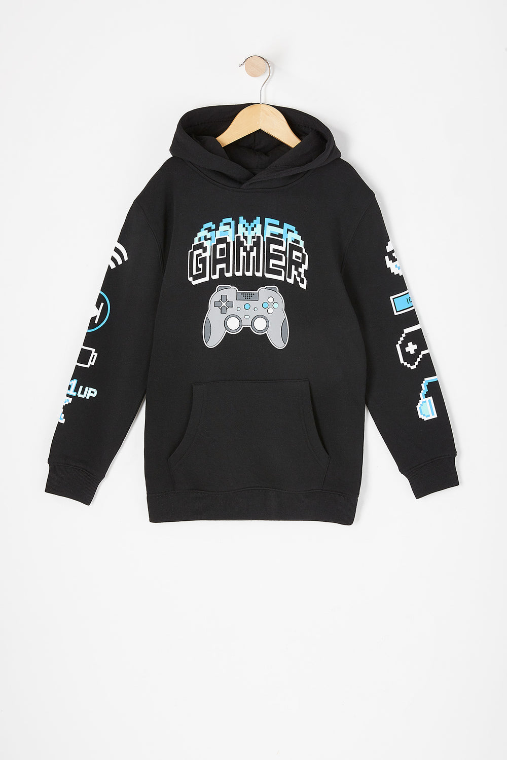 Boys Gamer Graphic Popover Hoodie Black