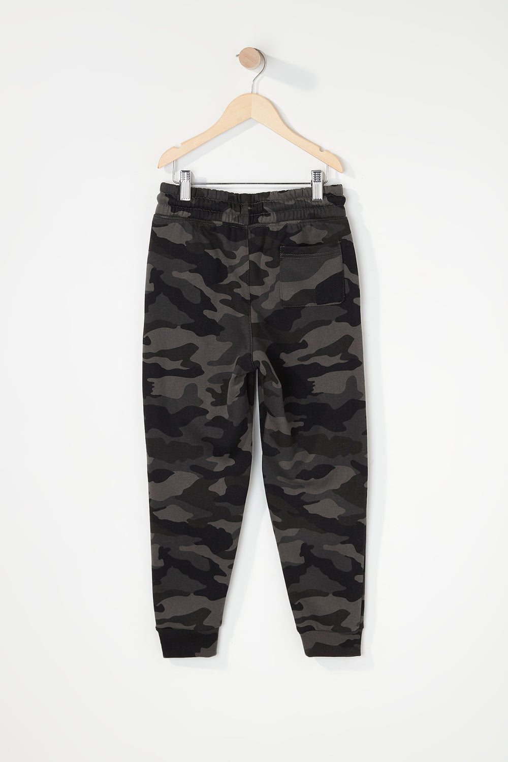 Boys Fleece Camo Classic Jogger Black with White